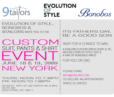 Custom wedding apparel event by 9tailors, Evolution of Style, and Bonobos.