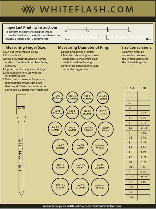 Engagement Ring Sizing Chart