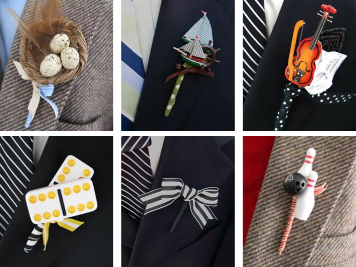 Grooms, choose a boutonniere that fits your personality (photos courtesy Rosenow Floral)
