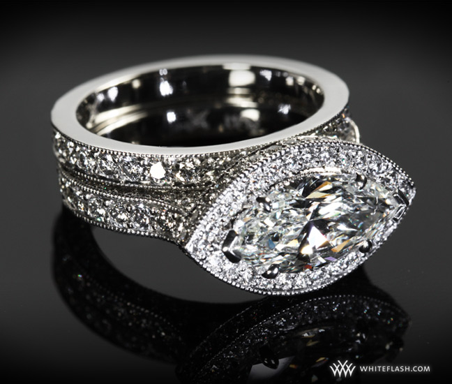 Marquise Diamond Engagement Ring Set