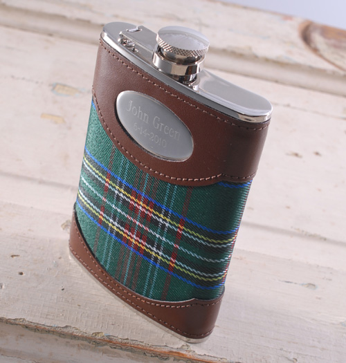 Personalized plaid flask