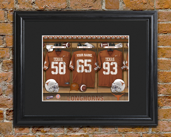 Personalized Texas Longhorns Framed Locker Room Print