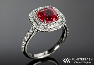 Double Halo Ruby Engagement Ring