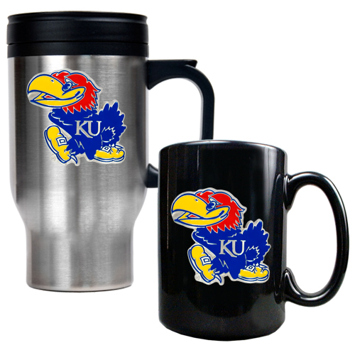 Jayhawks Travel/Coffee Mug Set