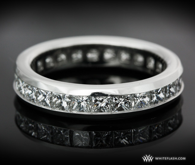 Custom Platinum channel set eternity band with princess cut diamonds