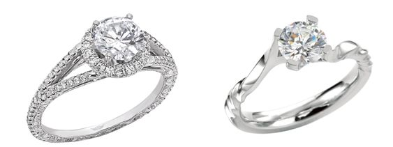 Left - Martin Flyer Platinum Engagement Ring ($3,647). Right - MaeVona Platinum Engagement Ring ($1,675)