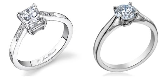 Jean Dousset $2,550 Platinum Engagement Ring (left). Michael C. Fina $1,690 Platinum Engagement Ring (right)