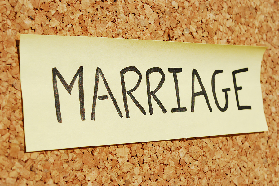 Marriage keyword on a cork board
