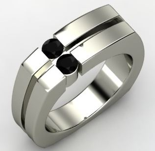Men's Sterling Silver 'Crosswalk Ring' with Black Onyx