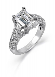 Platinum and diamond engagement ring by Simon G. Jewelry