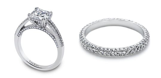 L - Platinum and diamond engagement ring by Kirk Kara. R - Ladies platinum and diamond band by Tacori