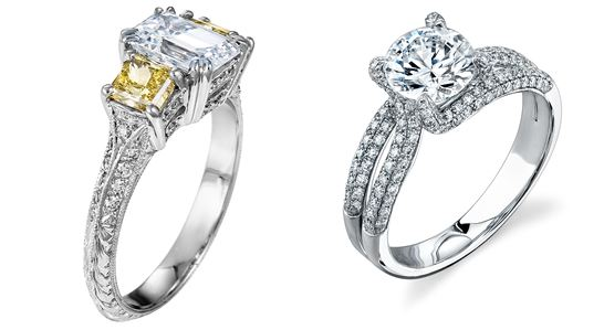 L - Platinum engagement ring by Philip Press. R - Platinum and diamond engagement ring by Simon G. Jewelry