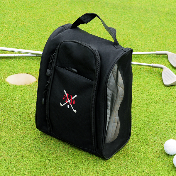 black embroidered golf shoe bag