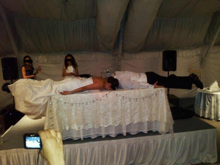 bride groom planking