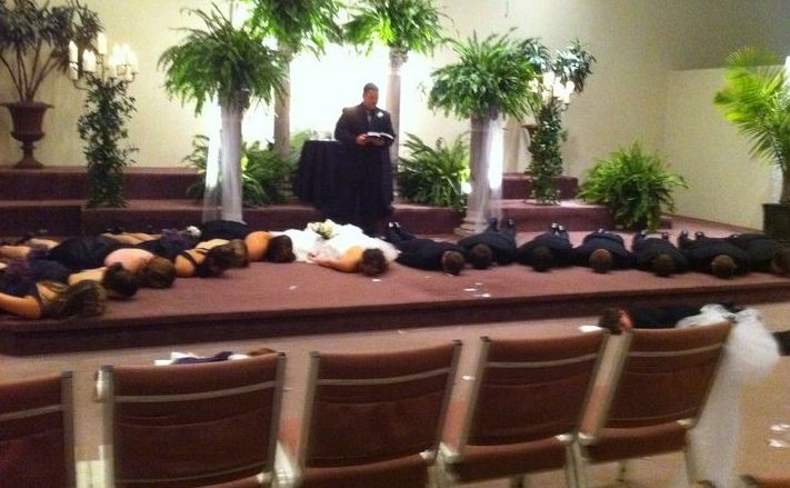 wedding party planking