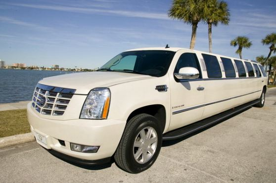 white escalade wedding limo