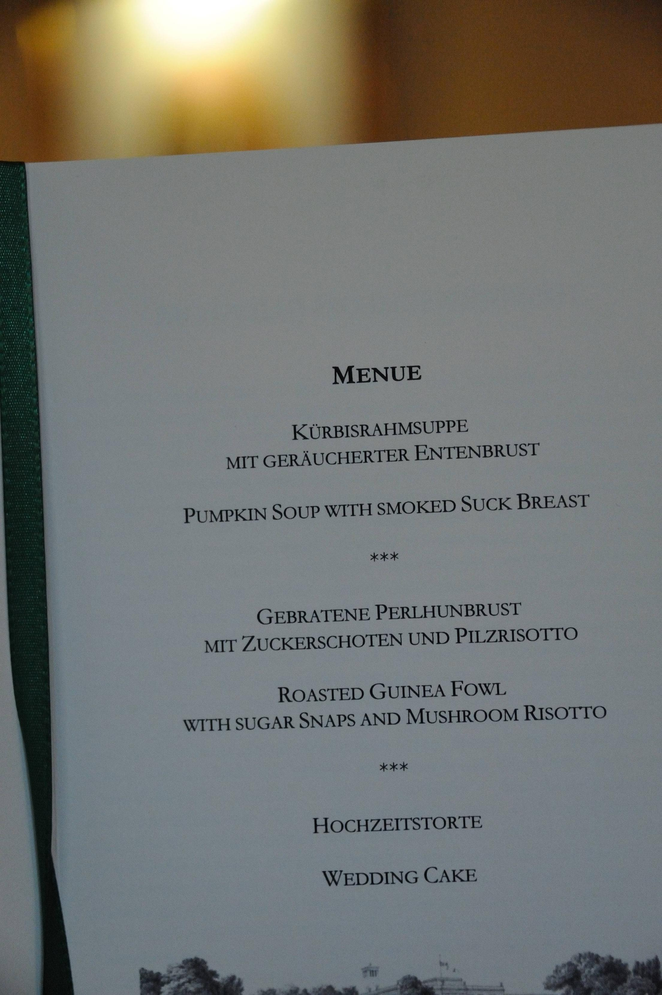 wedding reception menu typo