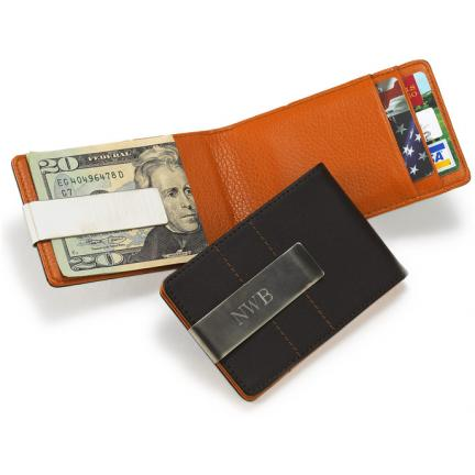 Personalied Metro Leather Wallet Money Clip