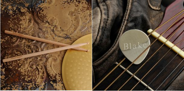 Personalized drumsticks guitar pick