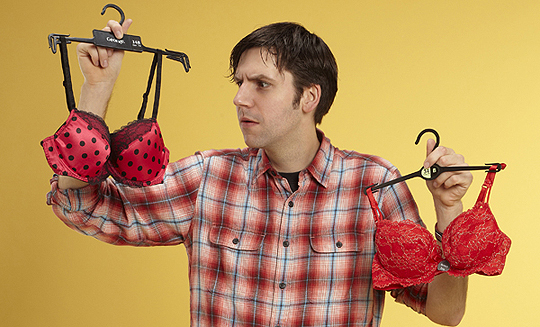 man confused buying lingerie