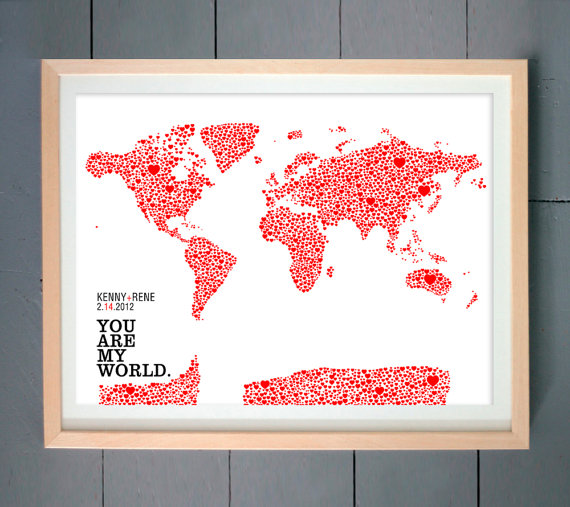 Gifting 101 great gift ideas for groomsmen bridesmaids newlyweds you are my world art print gumiabroncs Gallery