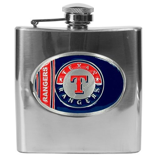texas rangers mlb flask