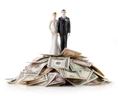 couple standing on cash