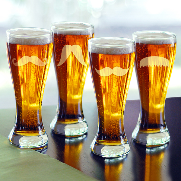 mustache beer glass set