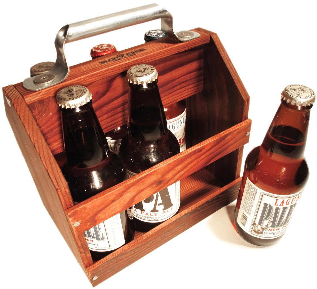 wooden six pack beer holder
