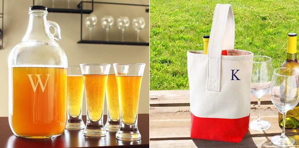 Personalized Growler Set + Wine Bottle Carrying Tote