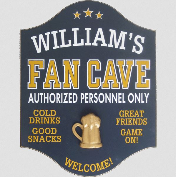 "wooden ""fan cave"" sign"