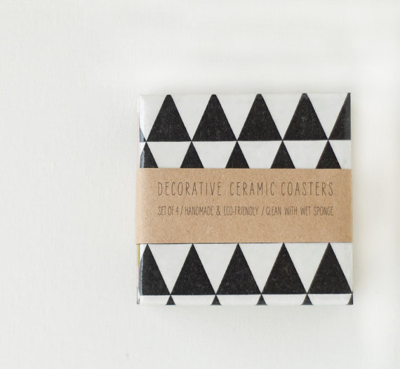 black triangle coasters from etsy
