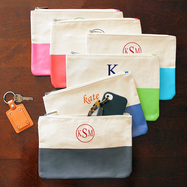 colorful canvas clutches