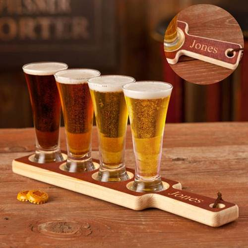 handcrafted wood beer flight tasting set