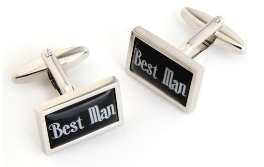 "cufflinks engraved with ""best man"""