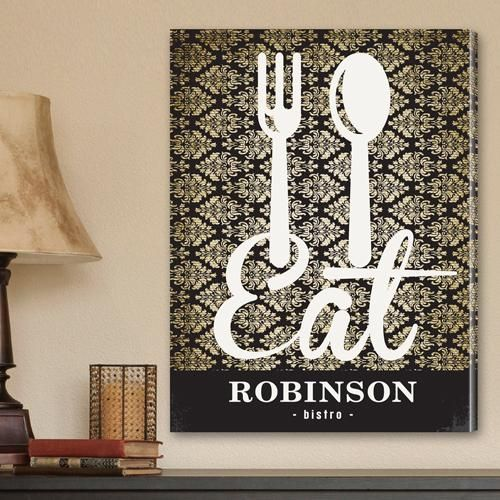 Foodies and chefs alike will love this vintage-inspired customized family bistro canvas print.