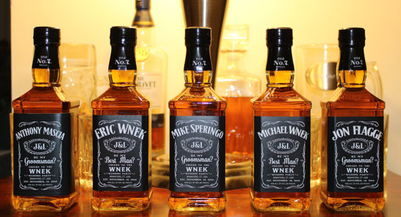 custom jack daniel's mini labels for your wedding party members
