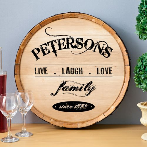 This unique live, laugh, love personalized wine barrel sign makes a perfect gift for any wine lover.