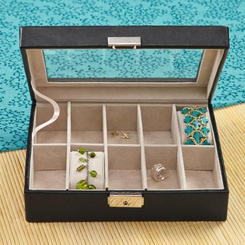 This black leather personalized women's jewelry box will keep her baubles protected and organized.