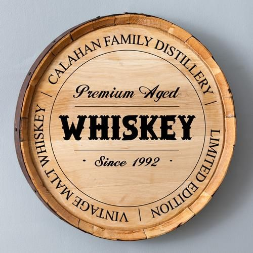 "Father's Day Gift Idea: ""family distillery"" wall sign made from the face of a real whiskey barrel (from The Man Registry)"
