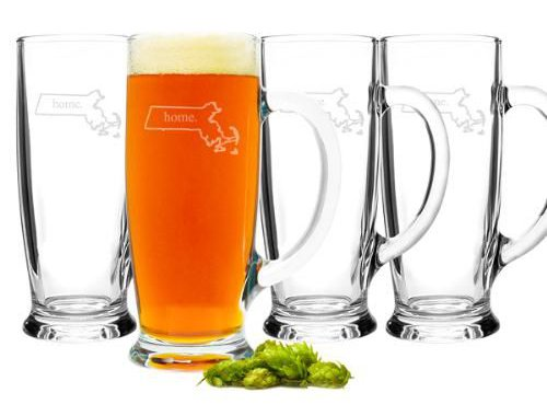 Father's Day Gift Idea: set of 4 beer mugs with Dad's home state engraved on them (from The Man Registry)