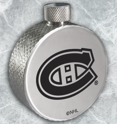 steel flasks that are shaped like hockey pucks that feature the logos of NHL teams