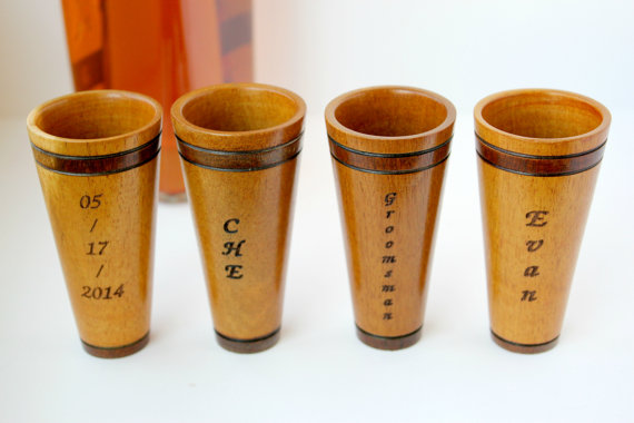 Engraved Wooden Shot Glasses for Groomsmen on Etsy
