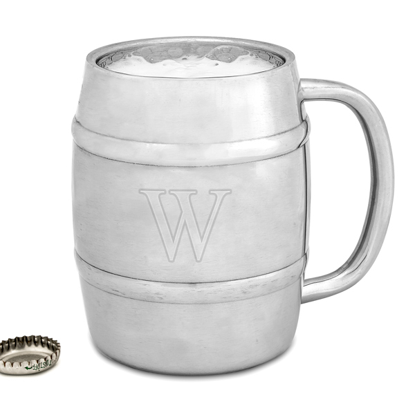 engraved keg-shaped beer mug