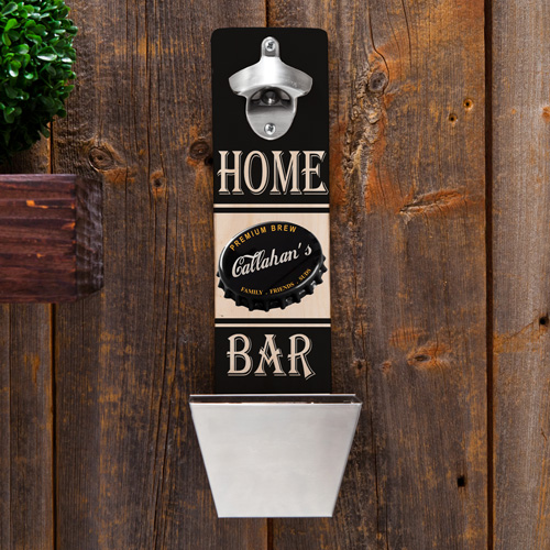 custom wall mounted bottle opener with steel cap catching bucket