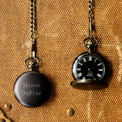The Personalized Midnight Pocket Watch is one of this year's best groomsmen gifts