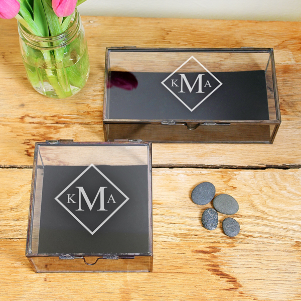 monogramed glass shadow jewelry boxes