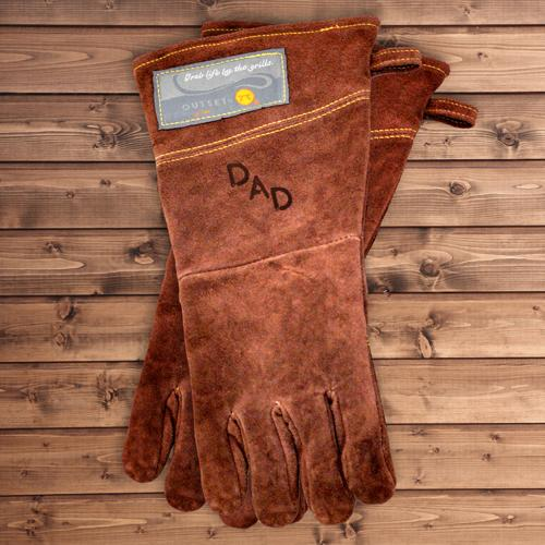 custom leather branded grilling gloves
