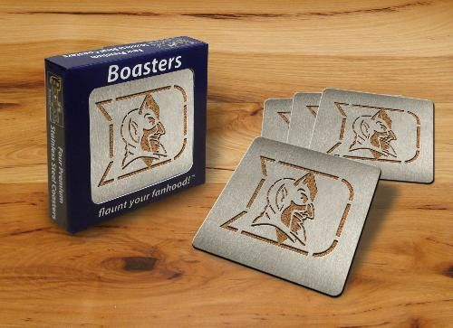 "Each coaster in this set of four officially licensed NCAA collegiate ""Boasters"" is made of heavy-duty stainless steel with your team's laser-cut logo and a cork backing."