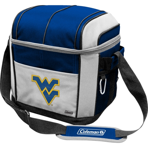 Perfect for game day, this Coleman 24-can, soft-sided cooler sports an embroidered NCAA team logo on the front and includes an adjustable carry strap with shoulder pad and a zippered closure to securely store beverages.
